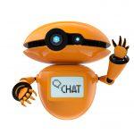 Orange robot isolated on white background
